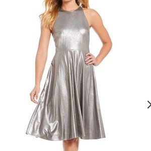 Halston Metallic Faux Suede Midi Dress Gunmetal